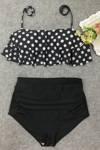 E&C Black Polka Dot Print Halter Ruffled High Waisted Retro Bikini