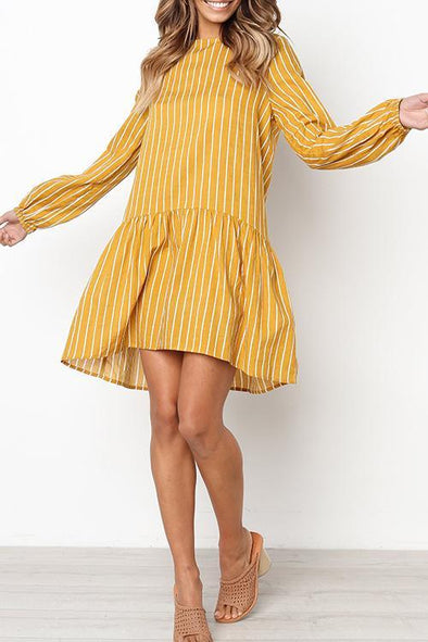 Striped Draped Yellow Mid-length Dress