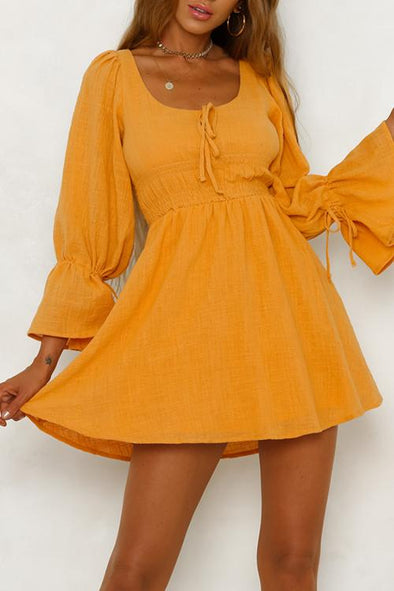 Cotton And Linen Elastic Waist flared Sleeve Dress