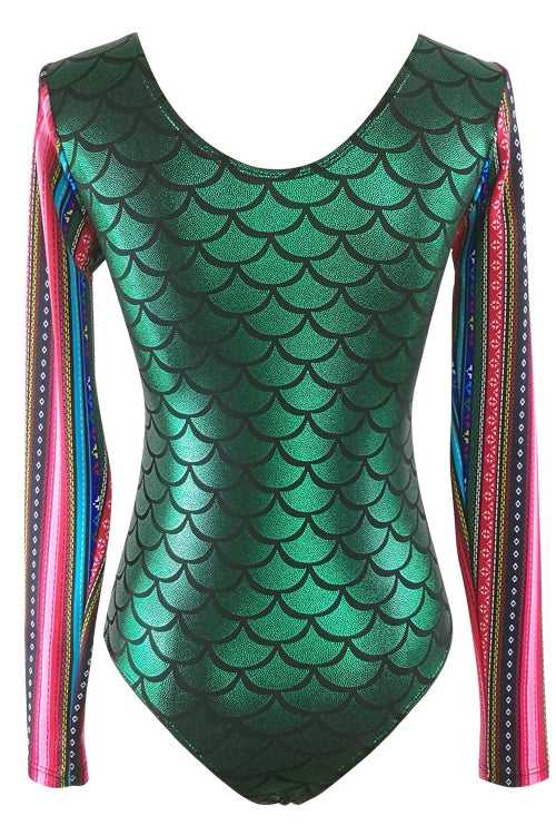 E&C Green Scale Tribal Print Full Coverage Modest Mermaid One Piece Swimsuit