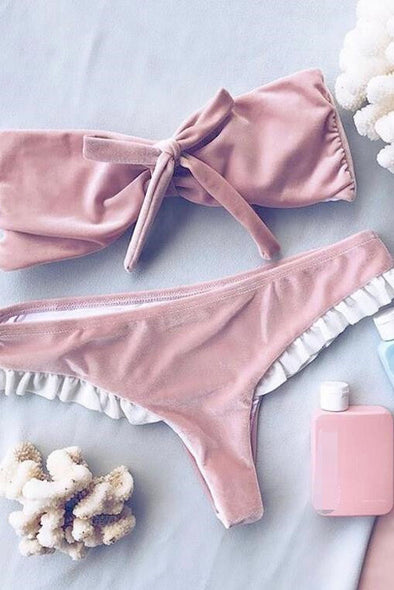 E&C Pink Velvet Knotted Bandeau Cheeky Thong Sexy Bikini Swimsuit