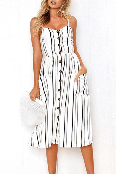 Casual V-neck Striped Button White Dress
