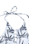 E&C White Coconut Palm Strappy Halter High Neck Sexy Crop Top Bikini Swimsuit