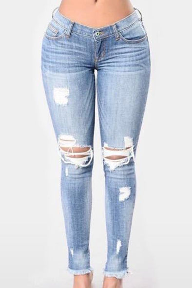 Shredded High Waist Jeans