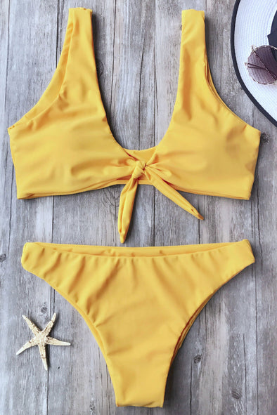 E&C Yellow Knotted Cheeky Sexy Two Piece Bikini Swimsuit