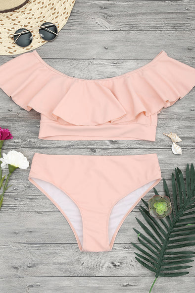 E&C Pink Ruffle Off The Shoulder Sexy Bikini Set Swimsuit