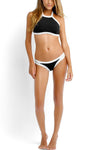 E&C Black Contrast Trim High Neck Halter Crop Top Bikini Sexy Swimsuit