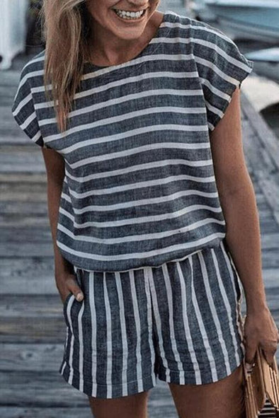 Fashion Print With Striped Backless Jumpsuit