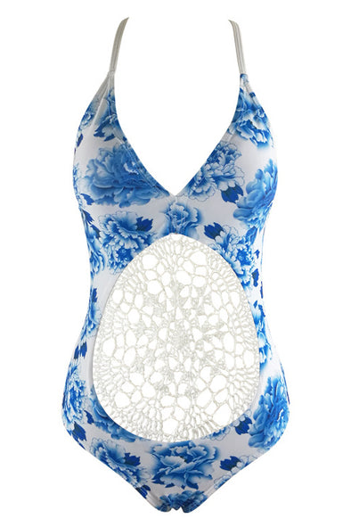 E&C White Blue Floral Print Crochet Backless Sexy One Piece Swimsuit