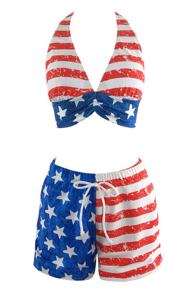 E&C Blue Red American Flag Printed Halter Drawstring Waist Boyshort Two Piece Swimsuit