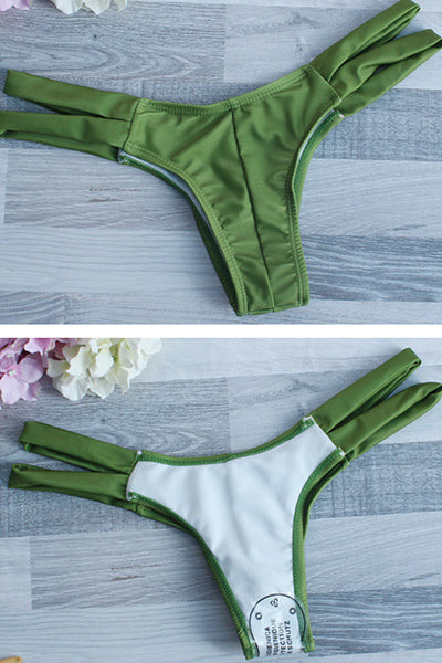 E&C Green Mesh Ruffled Strappy High Cut Sexy Thong Bikini Swimsuit
