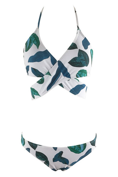 3b3d2bad767f5 E C White Leaf Print Halter Wrap Around Two Piece Swimsuit