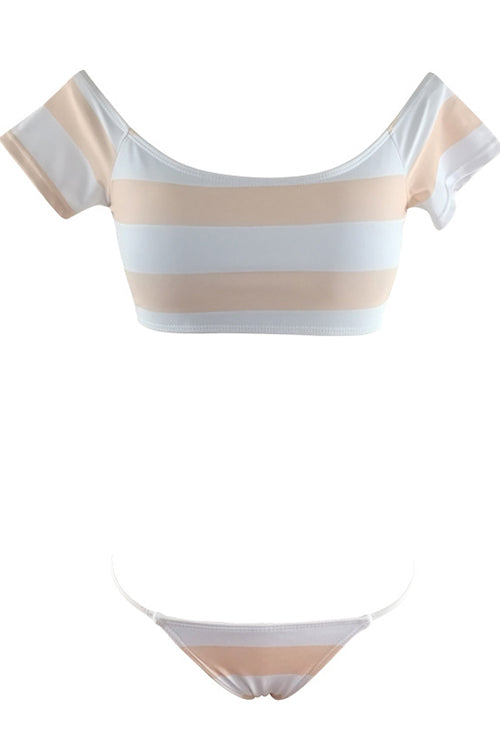 E&C White Off Shoulder Short Sleeve Stripe Print Sexy Two Piece Swimsuit