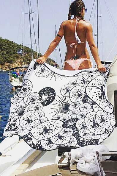 E&C Black White Lotus Leaf Print Roundie Boho Mandala Beach Throw