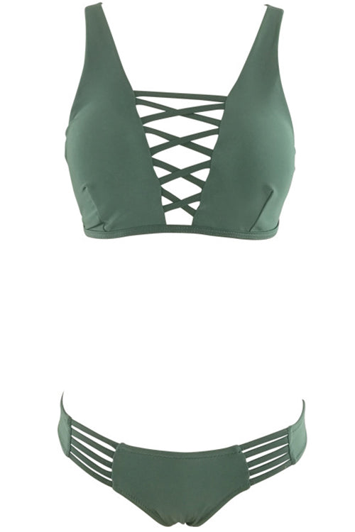 E&C Army Green Strappy Crisscross Sexy Two Piece Swimsuit