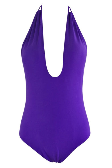 E&C Purple Plunging Halter Ruched Backless Sexy One Piece Swimsuit