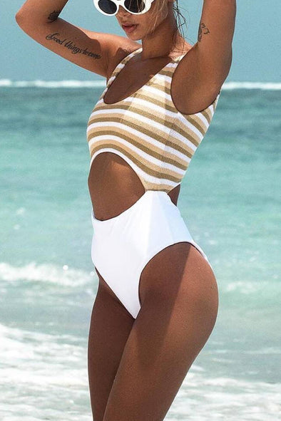 E&C White Scoop Neck Stripe High Cut Cutout Sexy Monokini Swimsuit