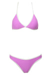 E&C Light Purple Triangle Contrast Trim High Cut Brazilian Bikini Swimsuit