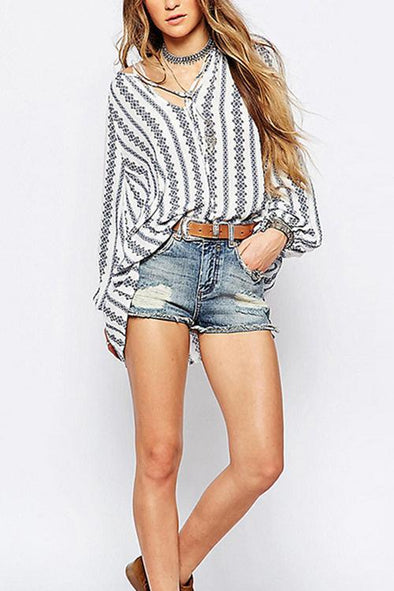 Striped Printed Long Sleeve Blouse