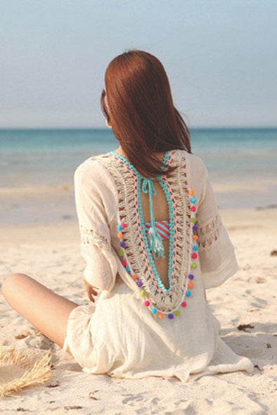 E&C Beige Crochet Backless Tassel Tied Pom Pom Ruffle Sexy Beach Cover Up Tunic