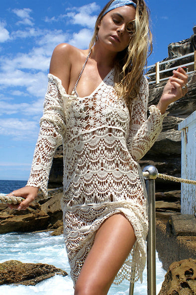 E&C Beige Plunging Hollow Lace Crochet Long Sleeve Sexy Cover Up
