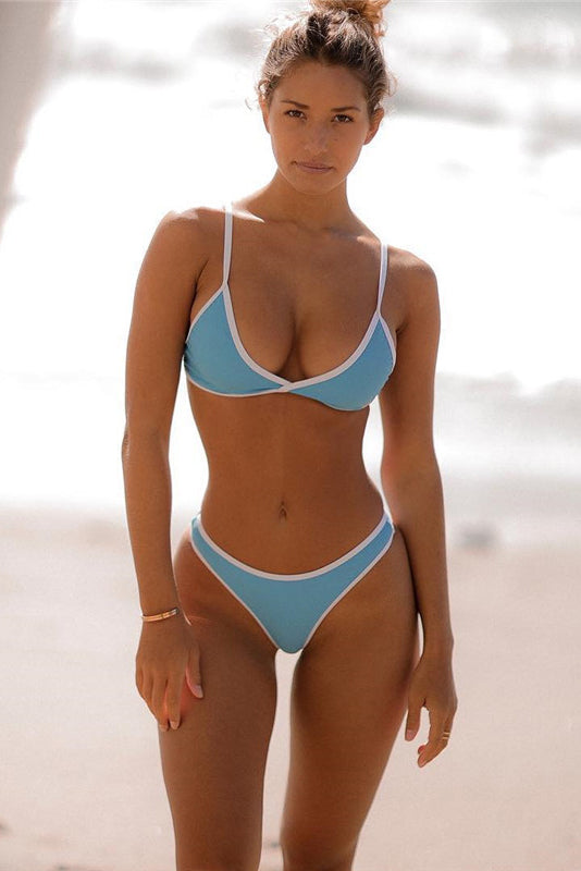 E&C Light Blue Triangle Contrast Trim High Cut Brazilian Bikini Swimsuit