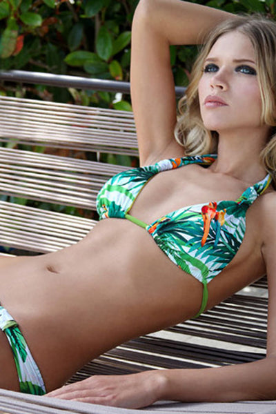 E&C Green Tropical Leaf Print Halter Sexy Bikini Swimsuit