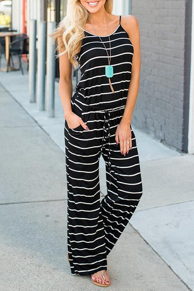 Striped Black One-piece Jumpsuit