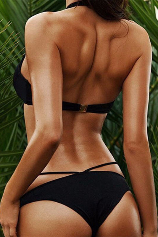 E&C Black Strappy Caged Halter Padded Push Up Sexy Bikini Two Piece Swimsuit