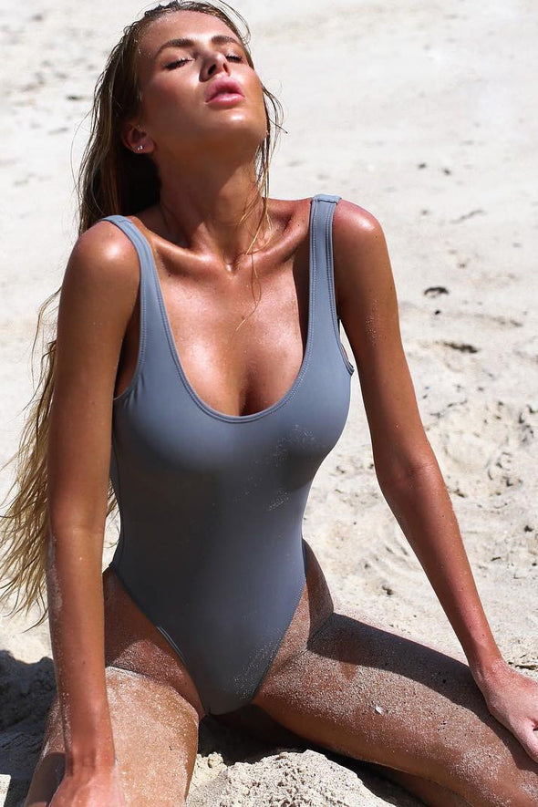 E&C Grey Shaping Scoop Low Back High Cut Sexy One Piece Swimsuit