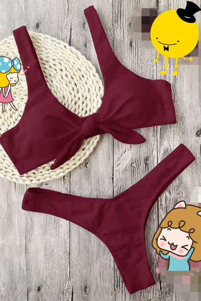 E&C Burgundy Knotted High Cut Thong Scrunch Butt Sexy Bikini Swimsuit