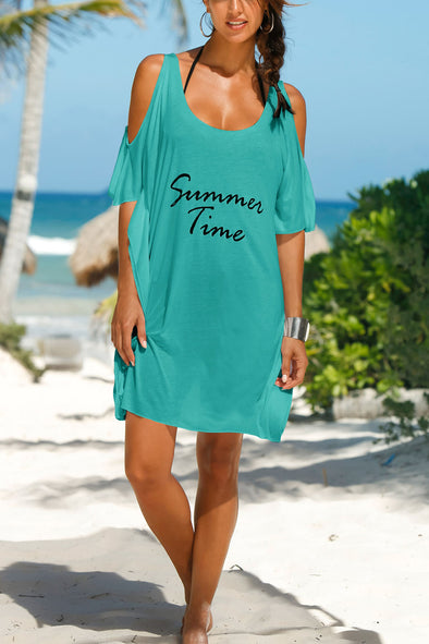 E&C Green Cold Shoulder Letter Print Asymmetric T Shirt Dress Beach Cover Up