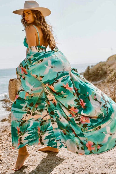 Boho Floral Belted Kimono Maxi Cover Up