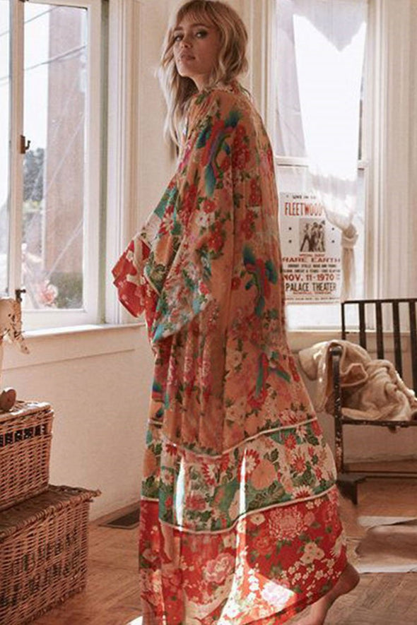 Boho Floral Maxi Chiffon Cover Up
