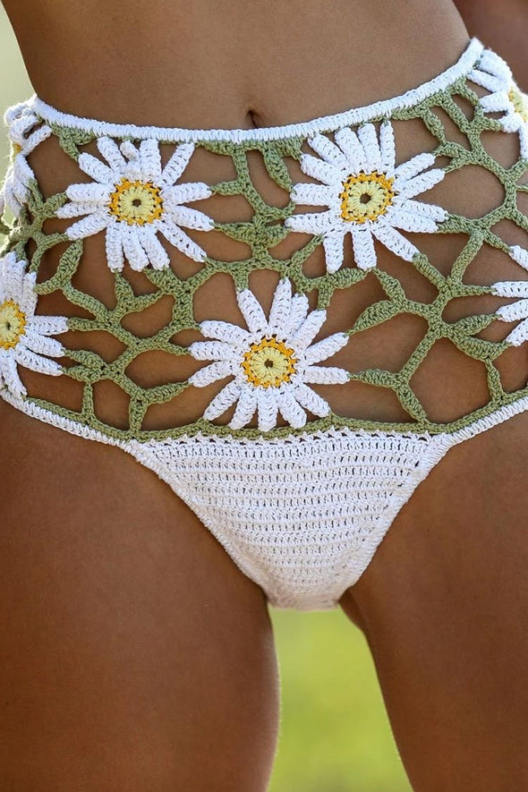 Boho Petal High Waisted Crocheting Bikini Bottom