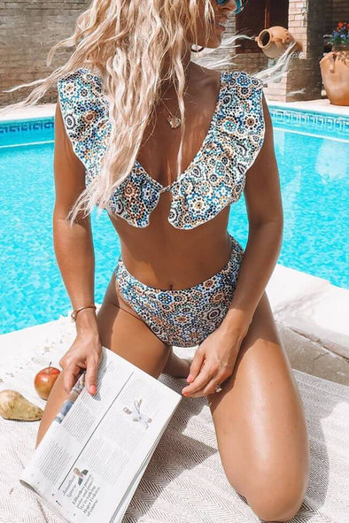 Boho Print Ruffle V Neck Bikini Swimsuit - Two Piece Set