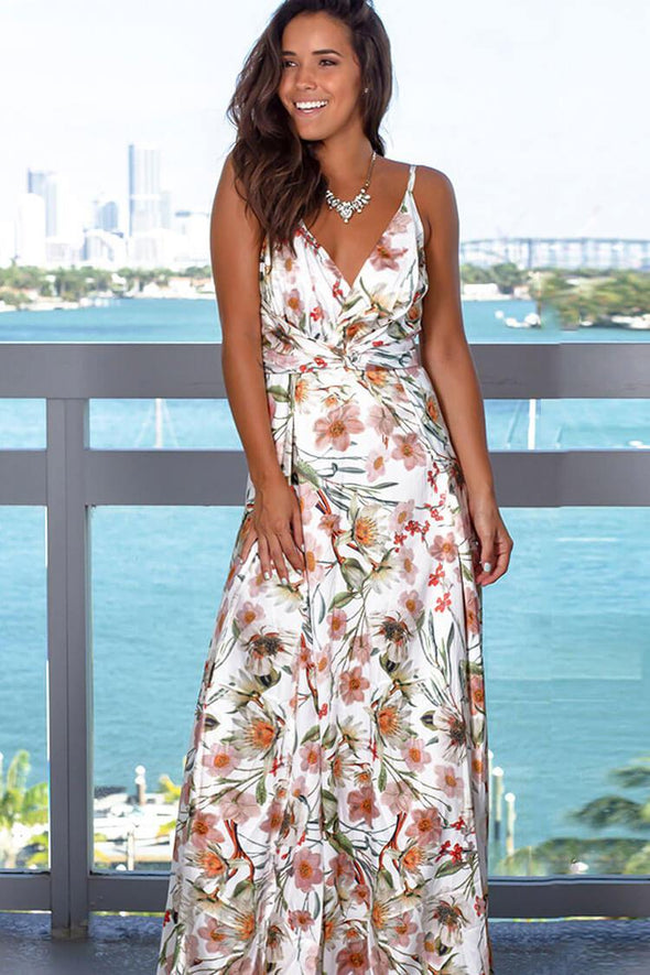 Boho Printed Ruched V Neck Maxi Beach Wrap Dress