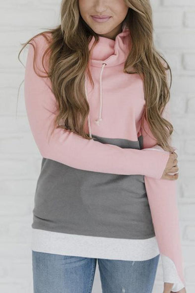 Stitched Design Hooded Long-sleeved Top