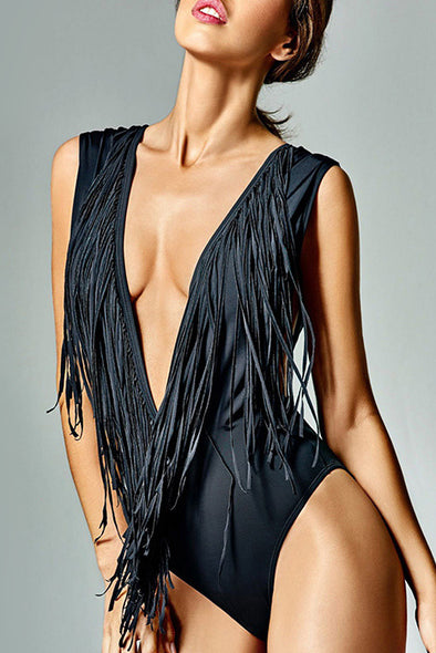 E&C Black Fringe Plunge Low Back Sexy One Piece Swimsuit