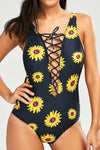 E&C Black Sunflower Print Plunging Strappy Caged Lace Up Sexy One Piece Swimsuit Bathing Suit