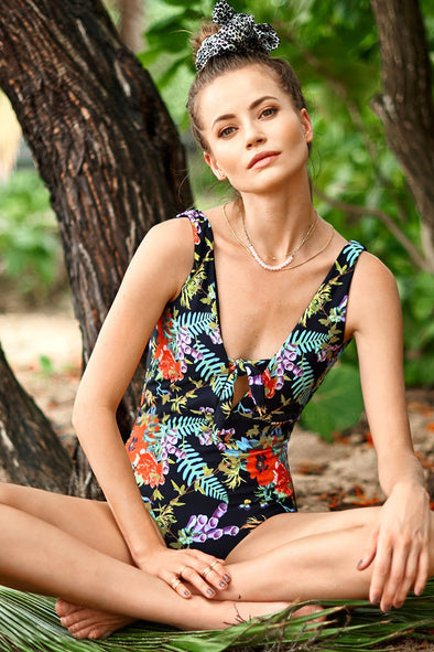 E&C Black Tropical Leaf Floral Print Knotted Plunge Low V Back Sexy One Piece Swimsuit
