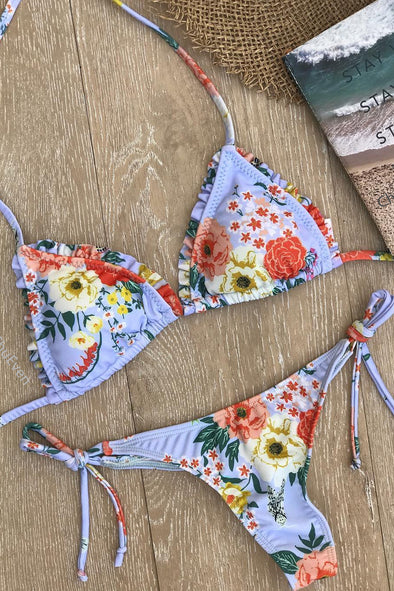 E&C Blue Floral Print Halter Triangle Strappy String Thong Sexy Bikini Swimsuit