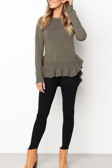 Casual Solid Color Ruffled Hem Sweater