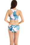 E&C Blue Tropical Leaf Print High Neck Racer Back Sexy Bikini Swimsuit