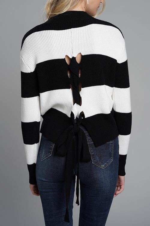 BLAISE Lace-up Back Sweater