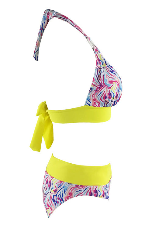 E&C Printed Halter O Ring Padded High Waisted Sexy Bikini Bathing Suit