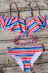 E&C Red Blue Off Shoulder Ruffle Stripe Print Strappy Pucker Back Cheeky Sexy Bikini Swimsuit