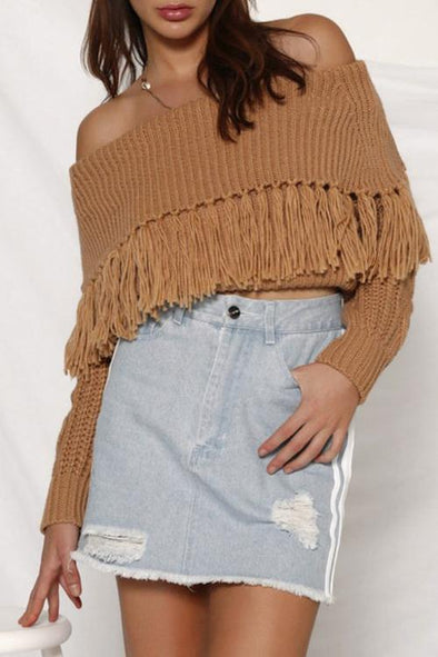 Tassel Word Collar Off-shoulder Sweater