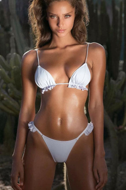 E&C White Ruffle Trim String Triangle Sexy Bikini Swimsuit