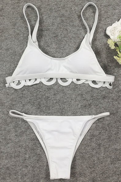 E&C White Padded Scalloped Trim Sexy Two Piece Swimsuit